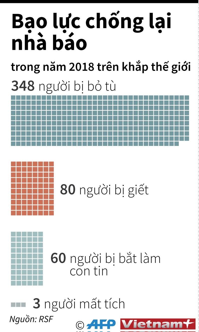 [Infographics] Bao luc chong lai nha bao tren khap the gioi hinh anh 1