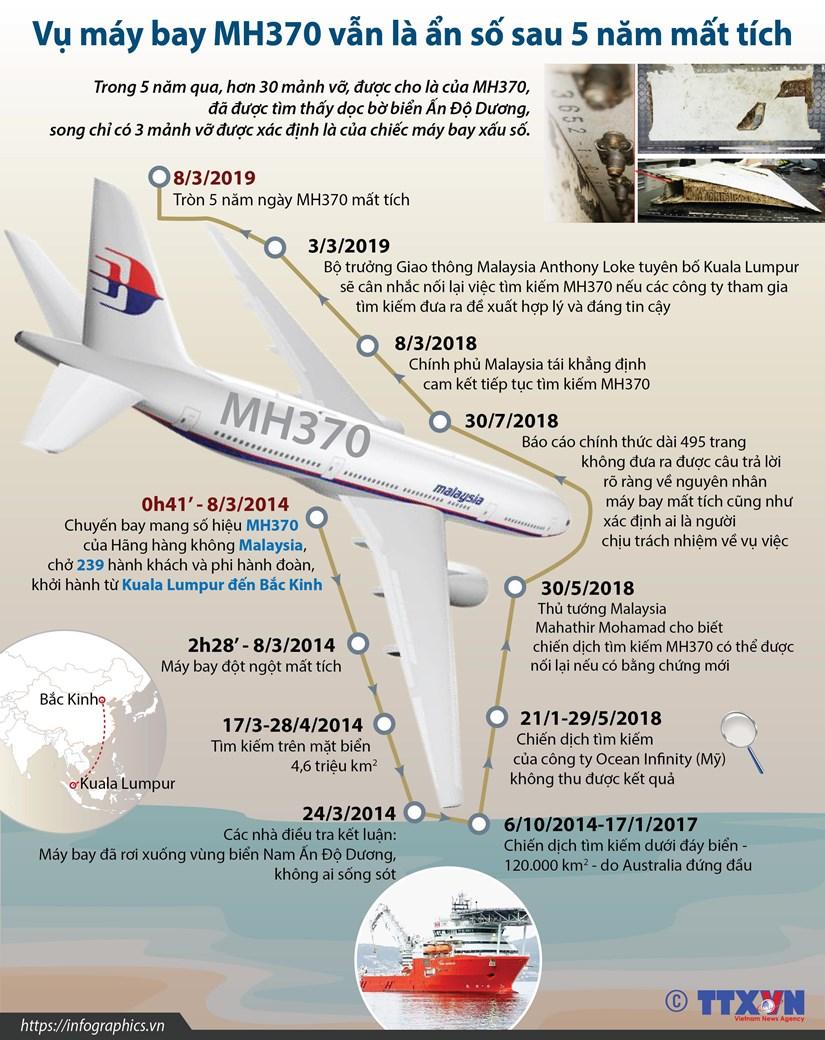 [Infographics] Vu may bay MH370 van la an so sau 5 nam mat tich hinh anh 1