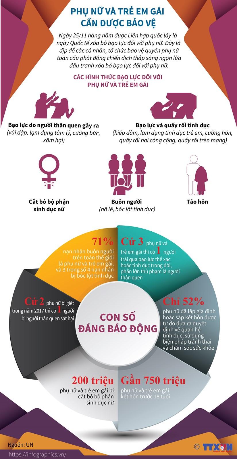 [Infographics] Phu nu va tre em gai can duoc bao ve hinh anh 1