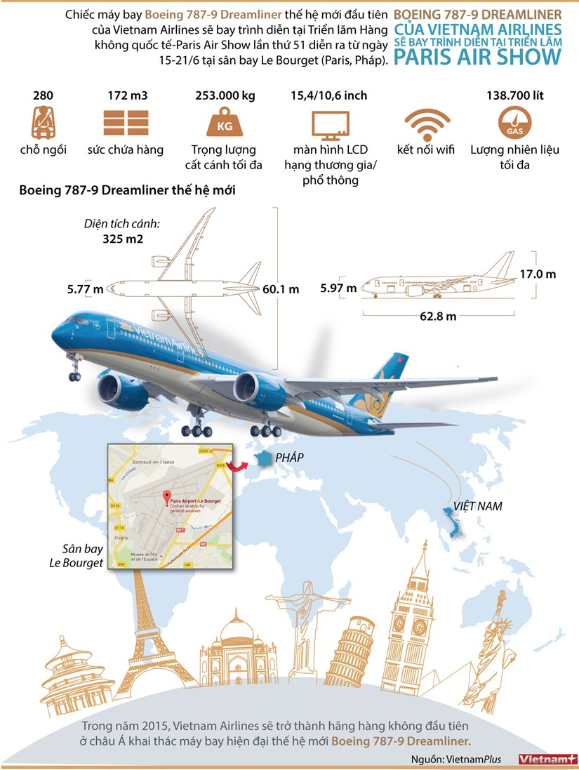 [Infographics] Chi tiet chiec Boeing 787-9 cua Vietnam Airlines hinh anh 1