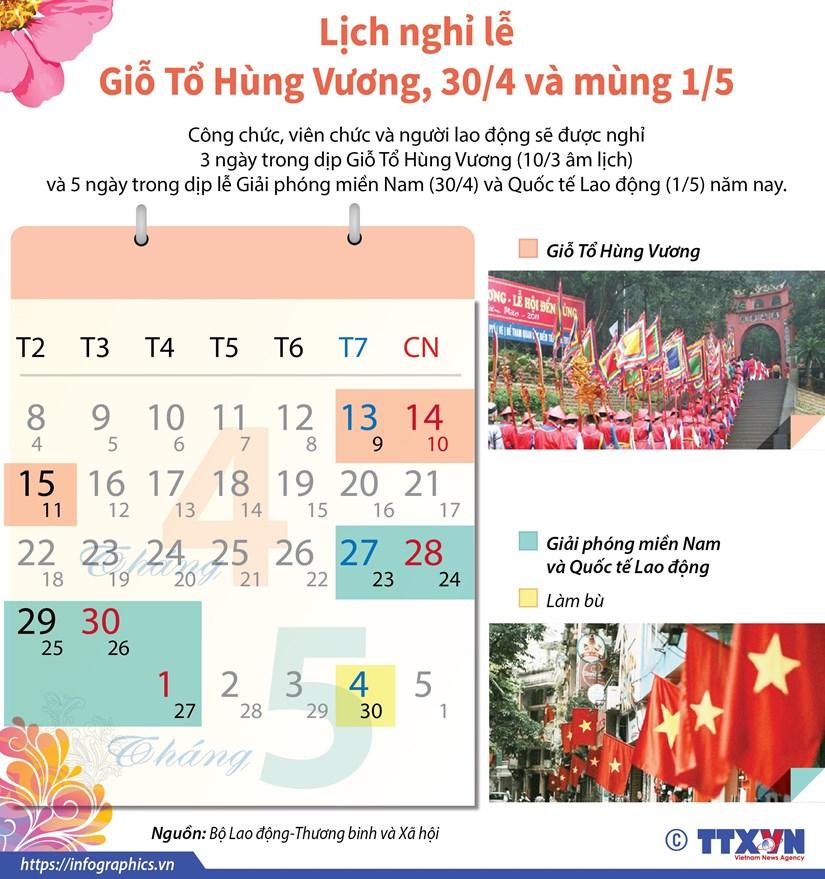 [Infographics] Lich nghi le Gio To Hung Vuong, 30/4, mung 1/5 hinh anh 1