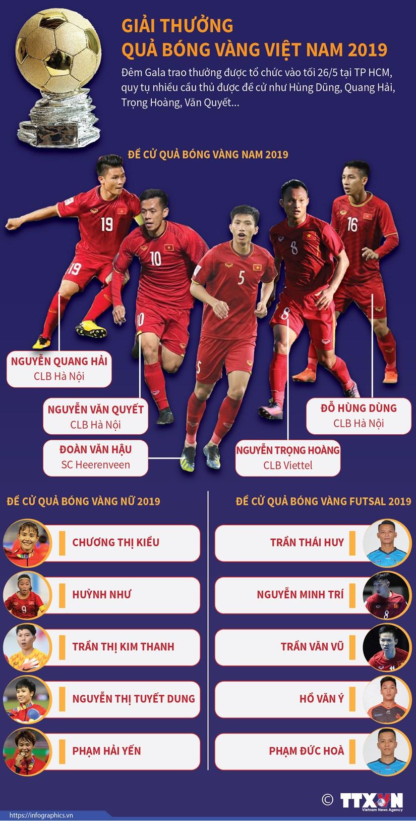 [Infographics] Giai thuong Qua bong Vang Viet Nam 2019 hinh anh 1