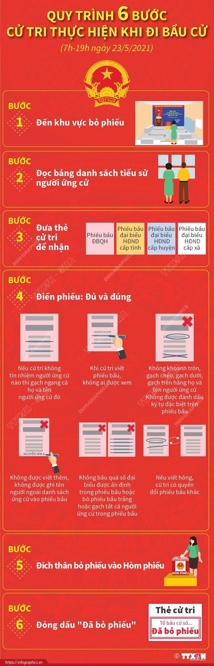 [Infographics] Quy trinh 6 buoc cu tri thuc hien khi di bau cu hinh anh 1