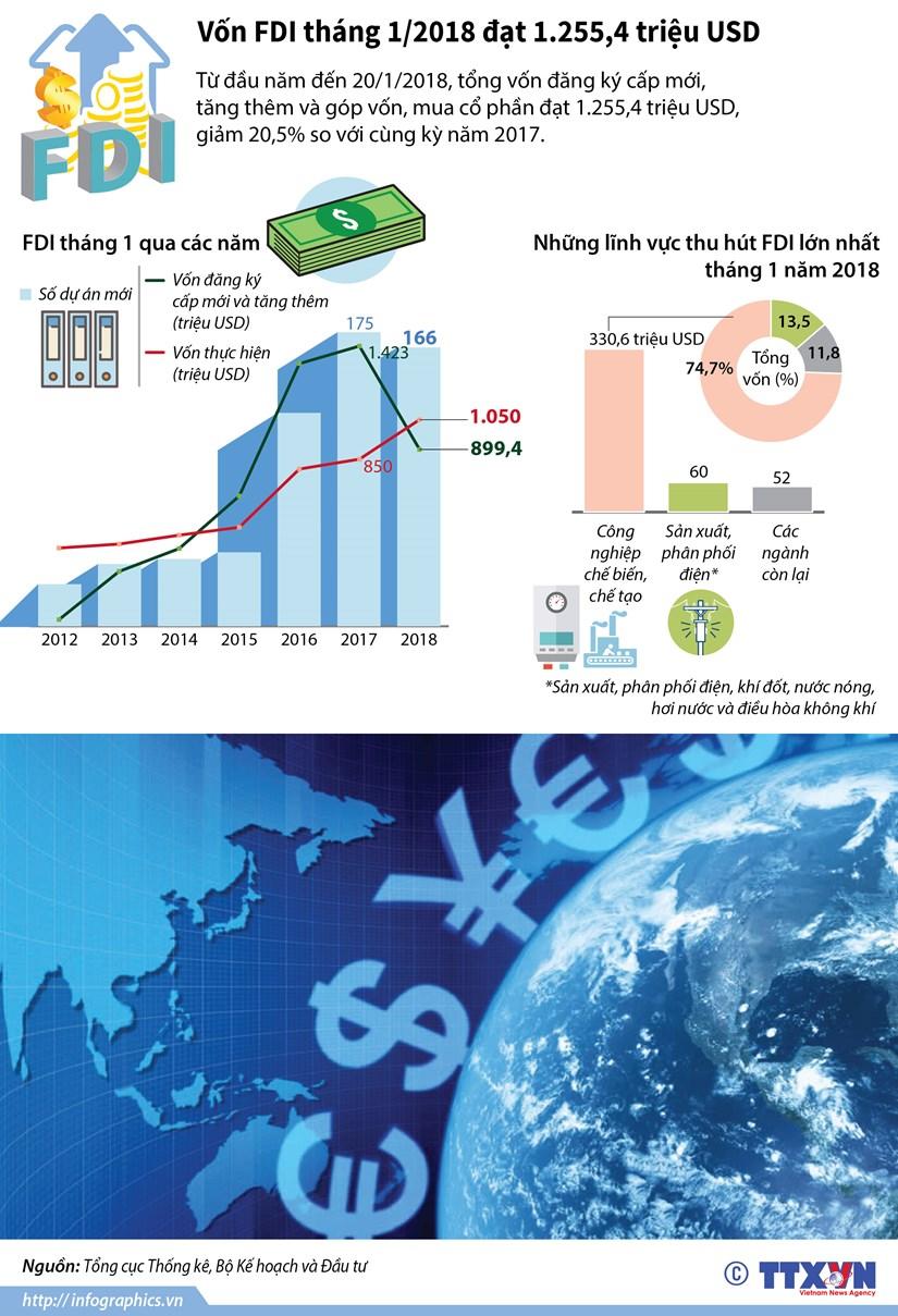 [Infographics] Thu hut von FDI thang 1 dat hon 1.255 trieu USD hinh anh 1