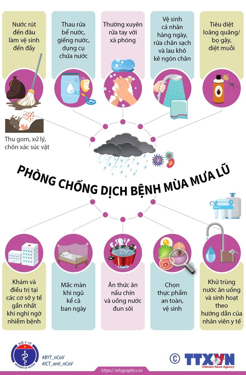 [Infographics] Chu dong phong chong dich benh trong mua mua lu hinh anh 1