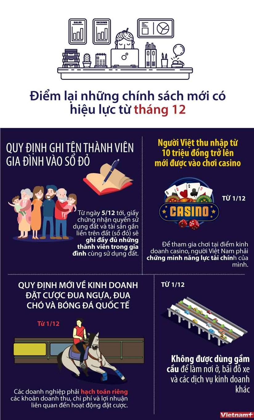 [Infographics] Diem lai nhung chinh sach moi co hieu luc tu thang 12 hinh anh 1
