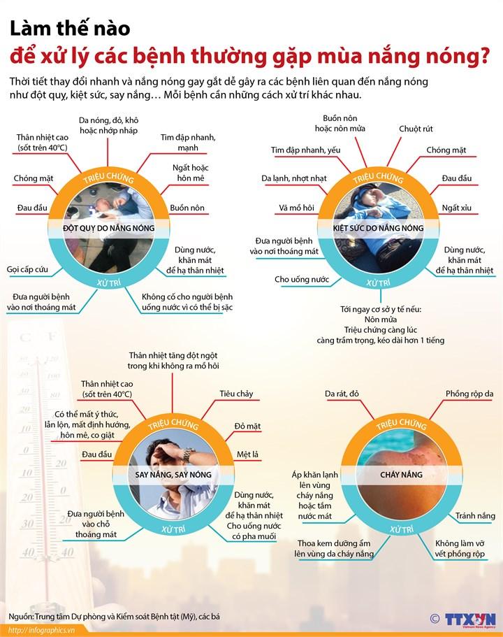[Infographics] Huong dan cach xu ly cac benh thuong gap mua nang nong hinh anh 1