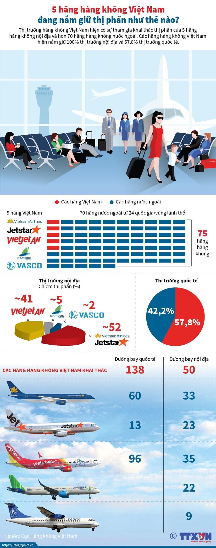 [Infographics] Thi phan cua 5 hang hang khong Viet Nam tai noi dia hinh anh 1
