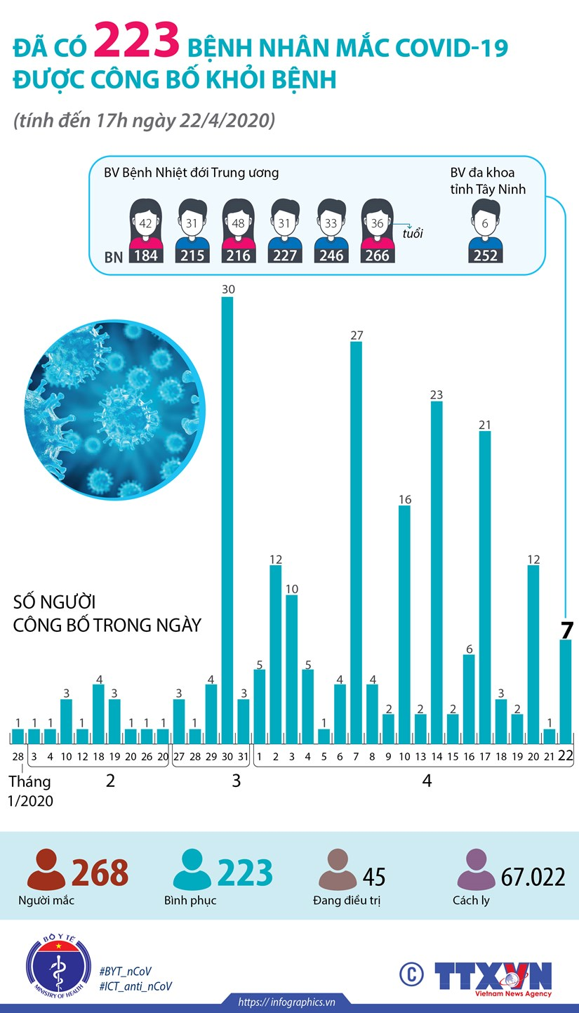 [Infographics] Da co 223 benh nhan mac COVID-19 duoc cong bo khoi benh hinh anh 1