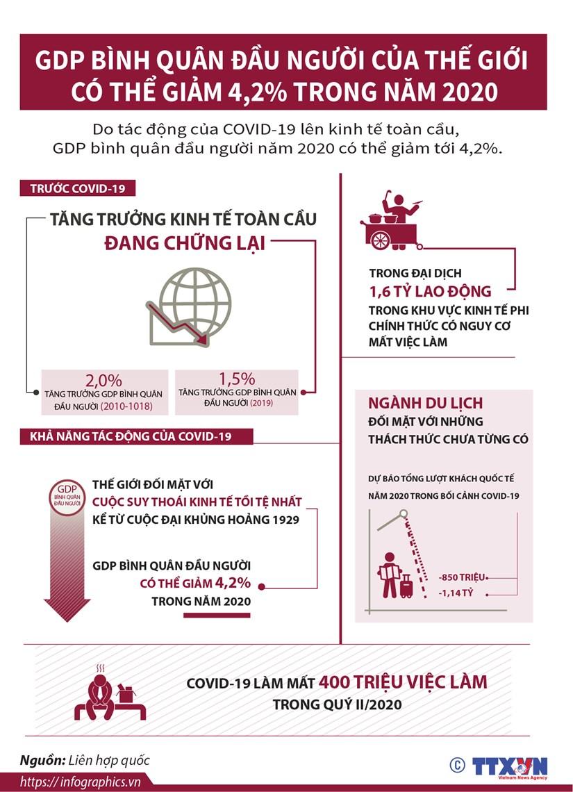 [Infographics] GDP binh quan dau nguoi cua the gioi co the giam 4,2% hinh anh 1