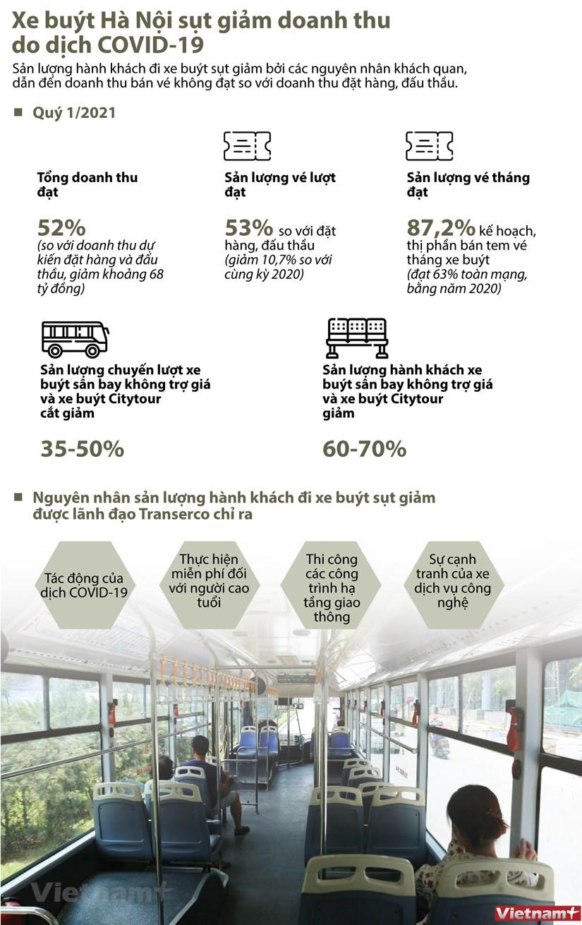 [Infographics] Xe buyt Ha Noi giam san luong, doanh thu do COVID-19 hinh anh 1