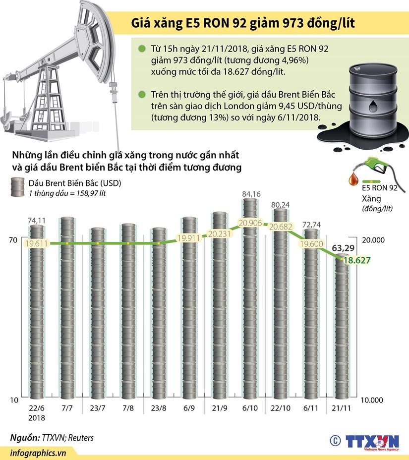 [Infographics] Gia xang E5 RON 92 giam 973 dong moi lit hinh anh 1