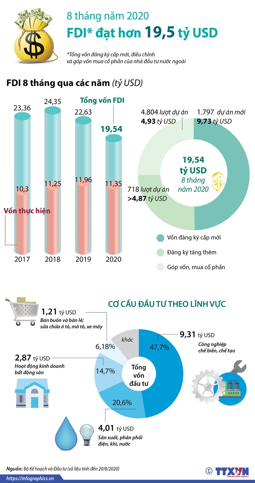 [Infographics] Viet Nam thu hut hon 19,5 ty USD von FDI trong 8 thang hinh anh 1