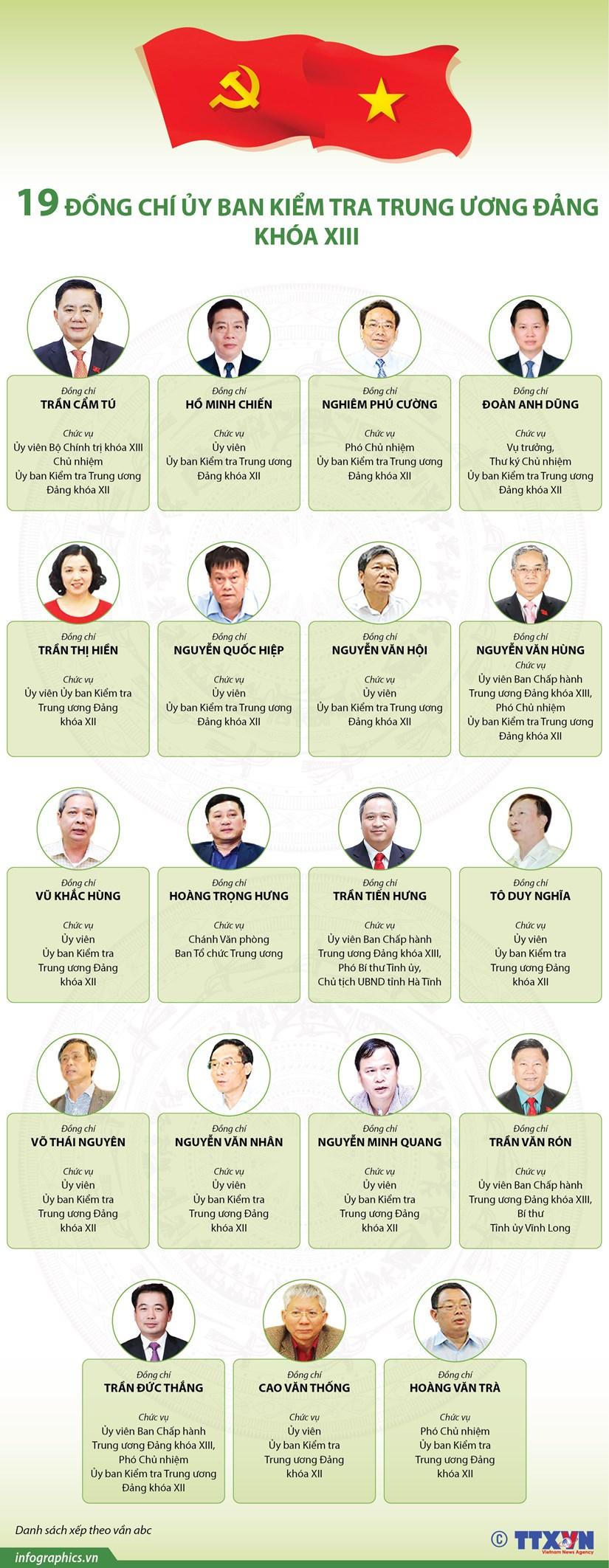 [Infographics] 19 dong chi trong Uy ban Kiem tra TW Dang khoa XIII hinh anh 1