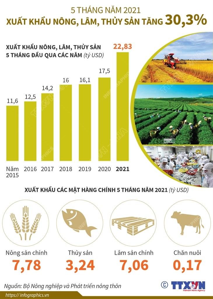 Xuat khau nong, lam, thuy san trong 5 thang nam 2021 tang 30,3% hinh anh 1