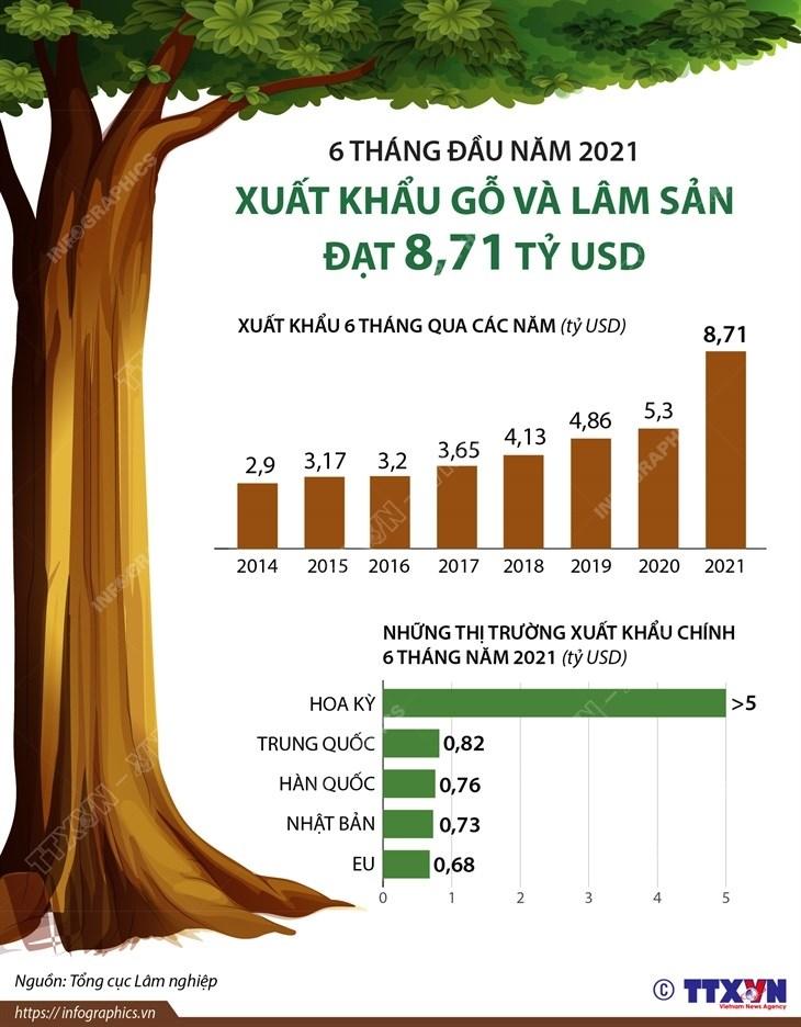 [Infographics] Xuat khau go va lam san 6 thang dau nam dat 8,71 ty USD hinh anh 1