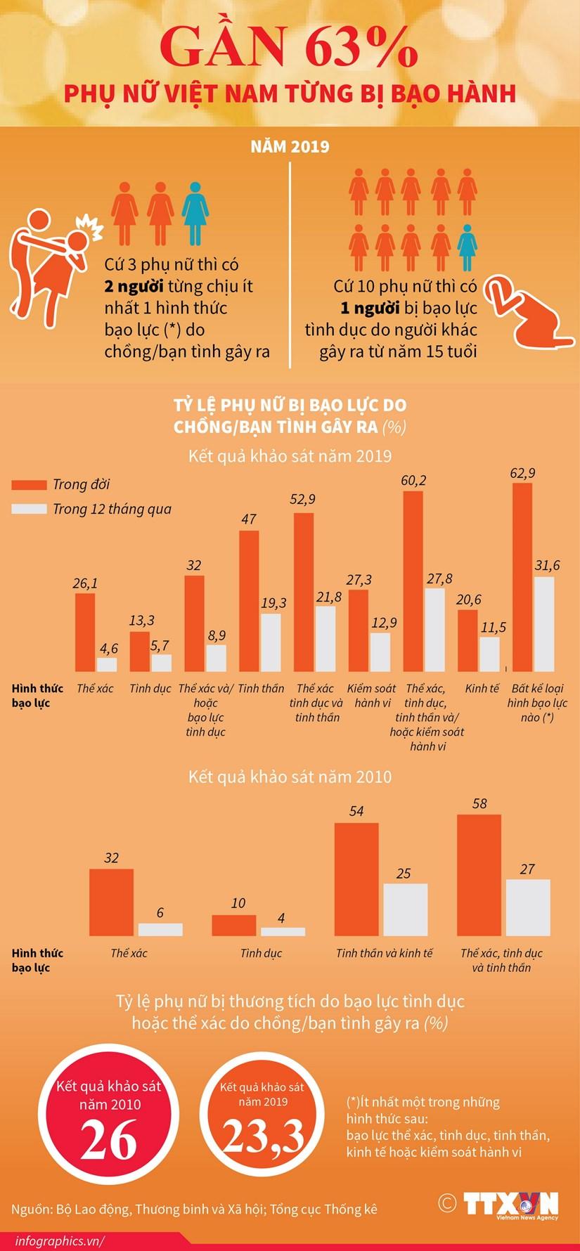 [Infographics] Gan 63% phu nu Viet Nam tung bi bao hanh hinh anh 1