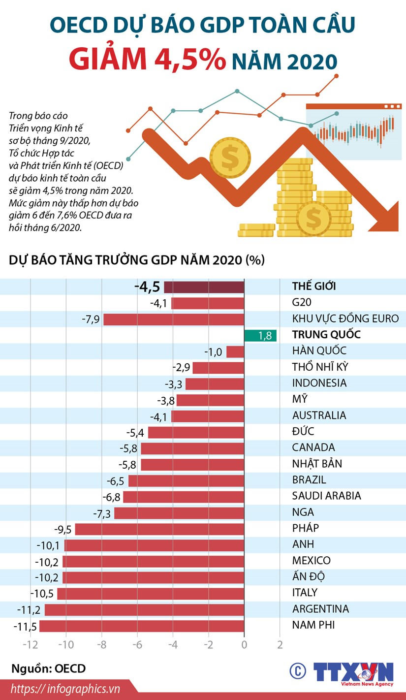 [Infographics] OECD du bao GDP toan cau nam 2020 giam 4,5% hinh anh 1