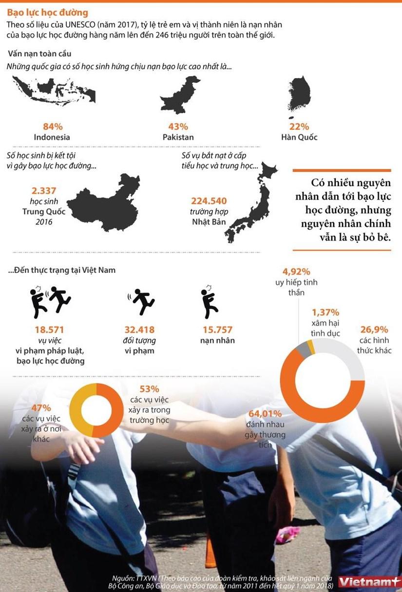 [Infographics] Bao luc hoc duong - Van de nan giai tren toan cau hinh anh 1