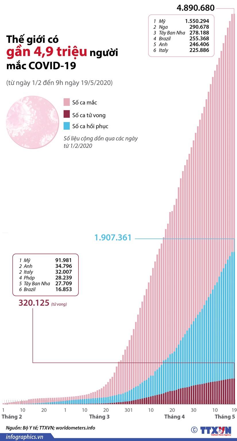 [Infographics] The gioi co gan 4,9 trieu nguoi mac COVID-19 hinh anh 1