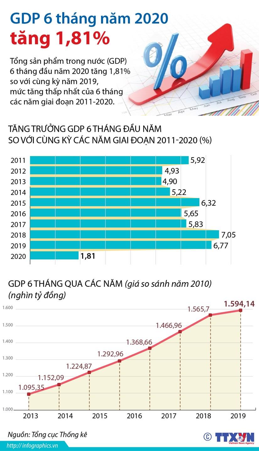 [Infographics] Tong san pham trong nuoc 6 thang dau nam tang 1,81% hinh anh 1