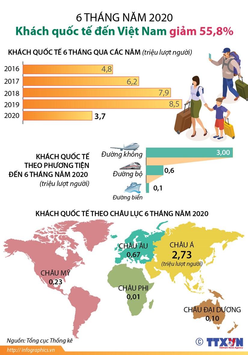 [Infographics] 6 thang dau nam: Khach quoc te den Viet Nam giam 55,8% hinh anh 1