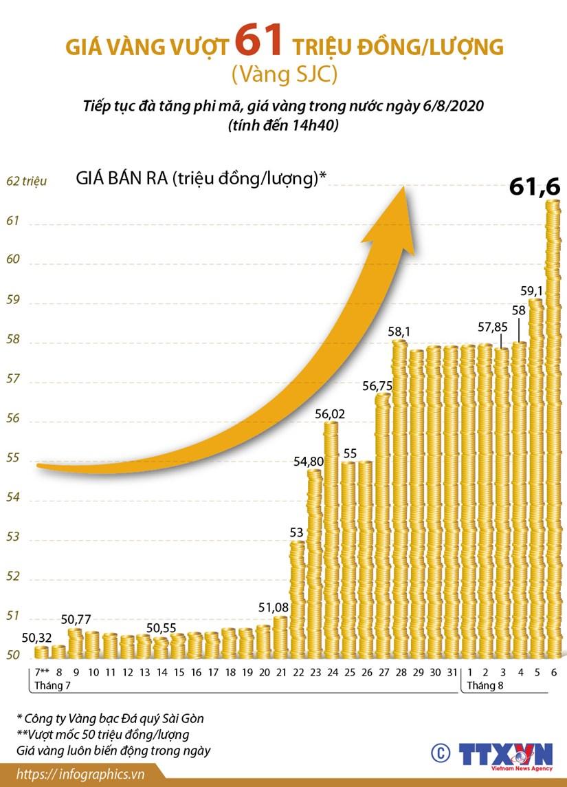 [Infographics] Gia vang SJC vuot 61 trieu dong moi luong hinh anh 1