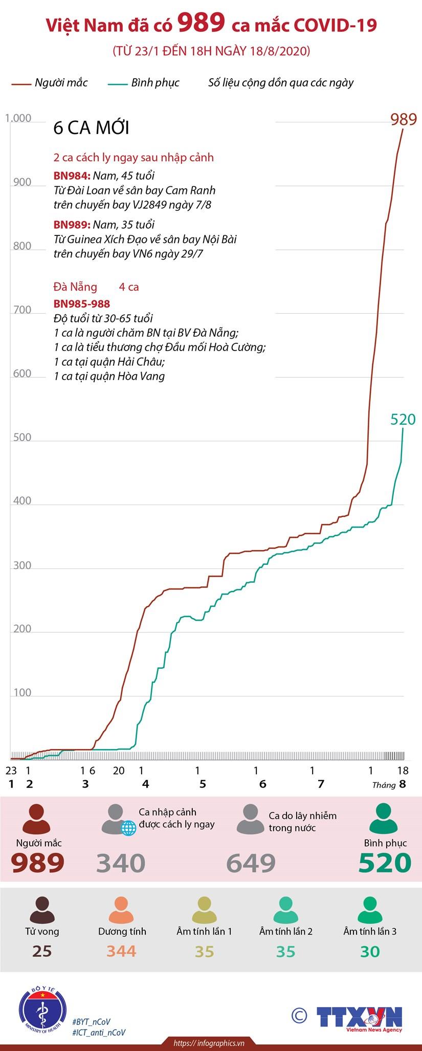 [Infographics] Viet Nam da ghi nhan 989 ca mac COVID-19 hinh anh 1