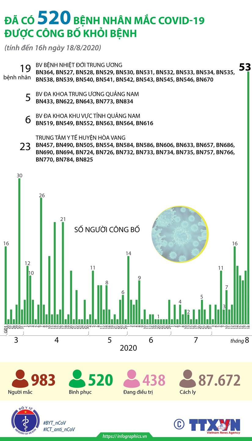 [Infographics] Da co 520 benh nhan mac COVID-19 duoc cong bo khoi benh hinh anh 1