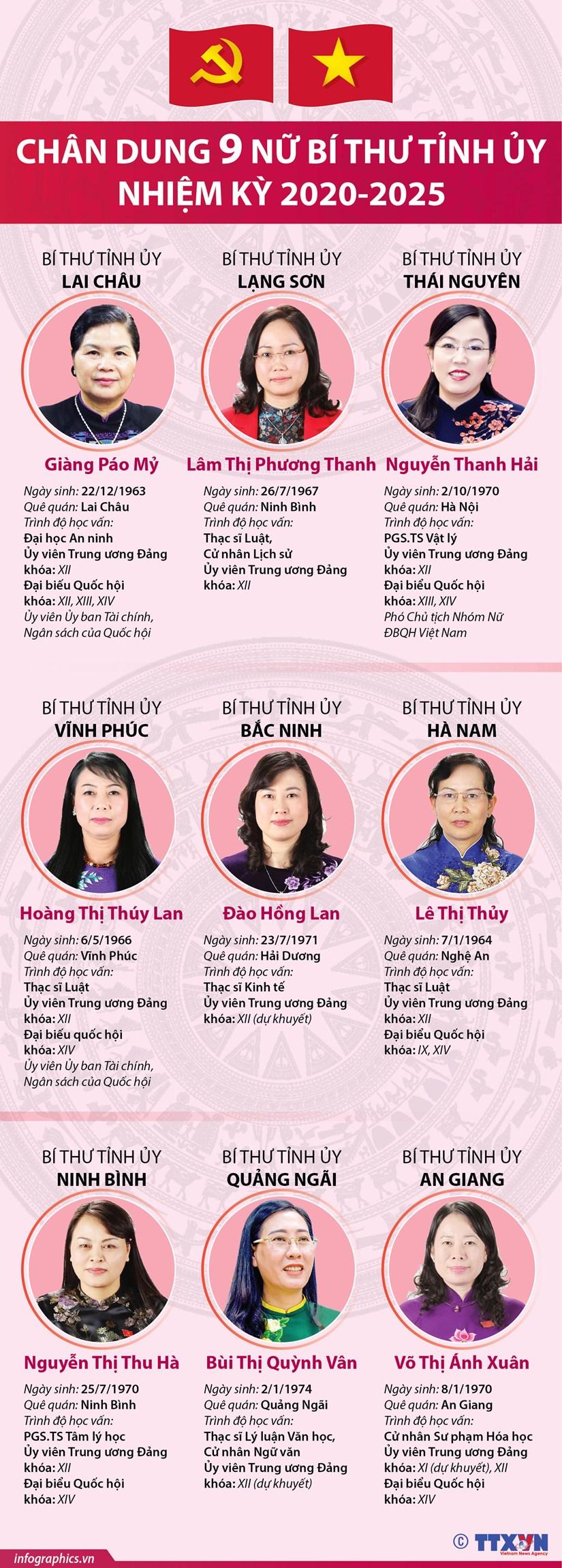 [Infographics] Chan dung 9 nu Bi thu Tinh uy nhiem ky 2020-2025 hinh anh 1