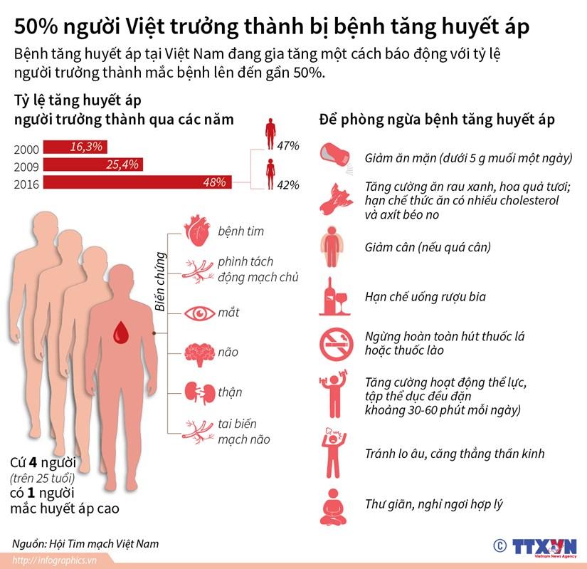 [Infographics] 50% so nguoi Viet truong thanh bi benh tang huyet ap hinh anh 1