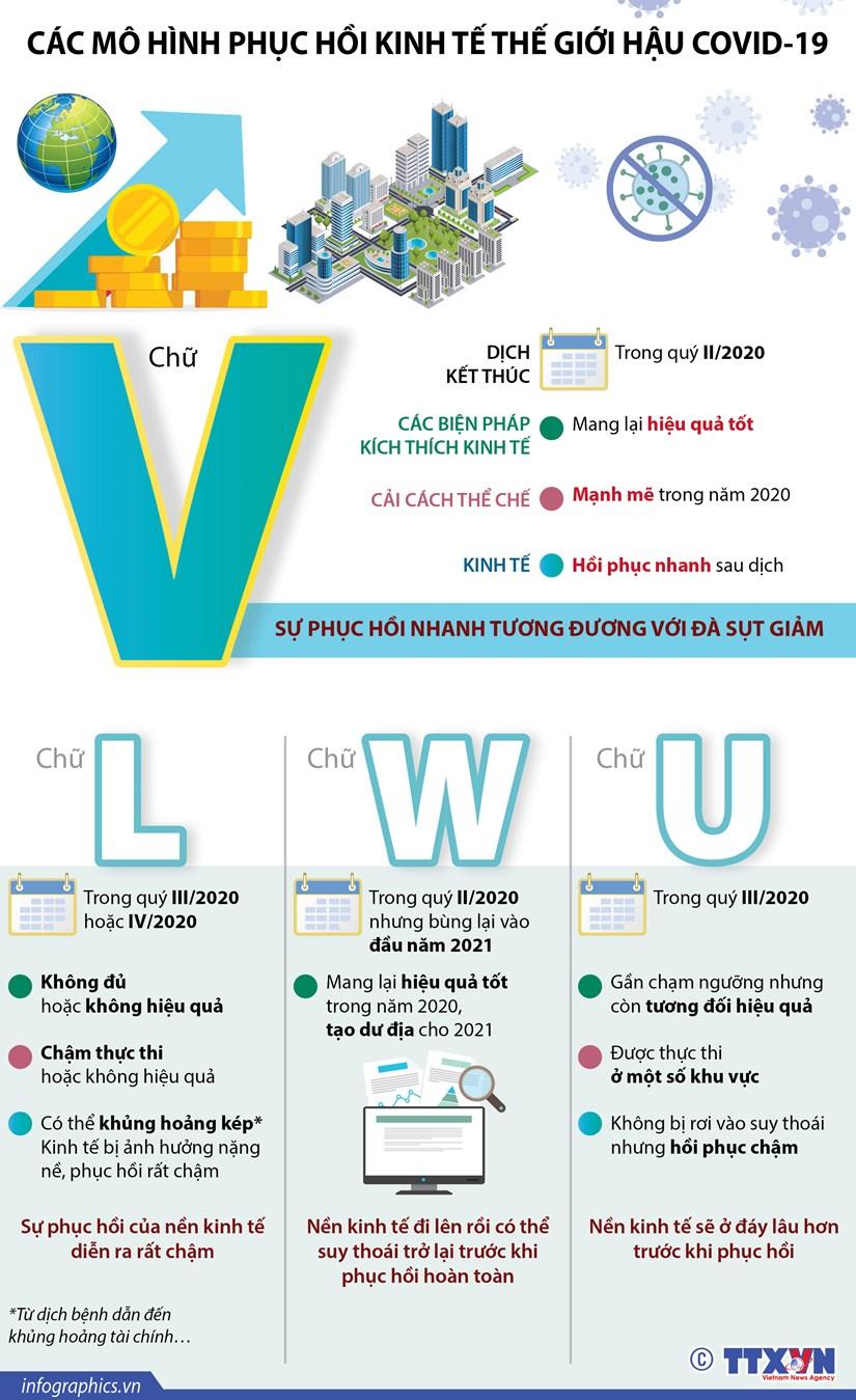 [Infographics] Cac mo hinh phuc hoi kinh te the gioi hau COVID-19 hinh anh 1