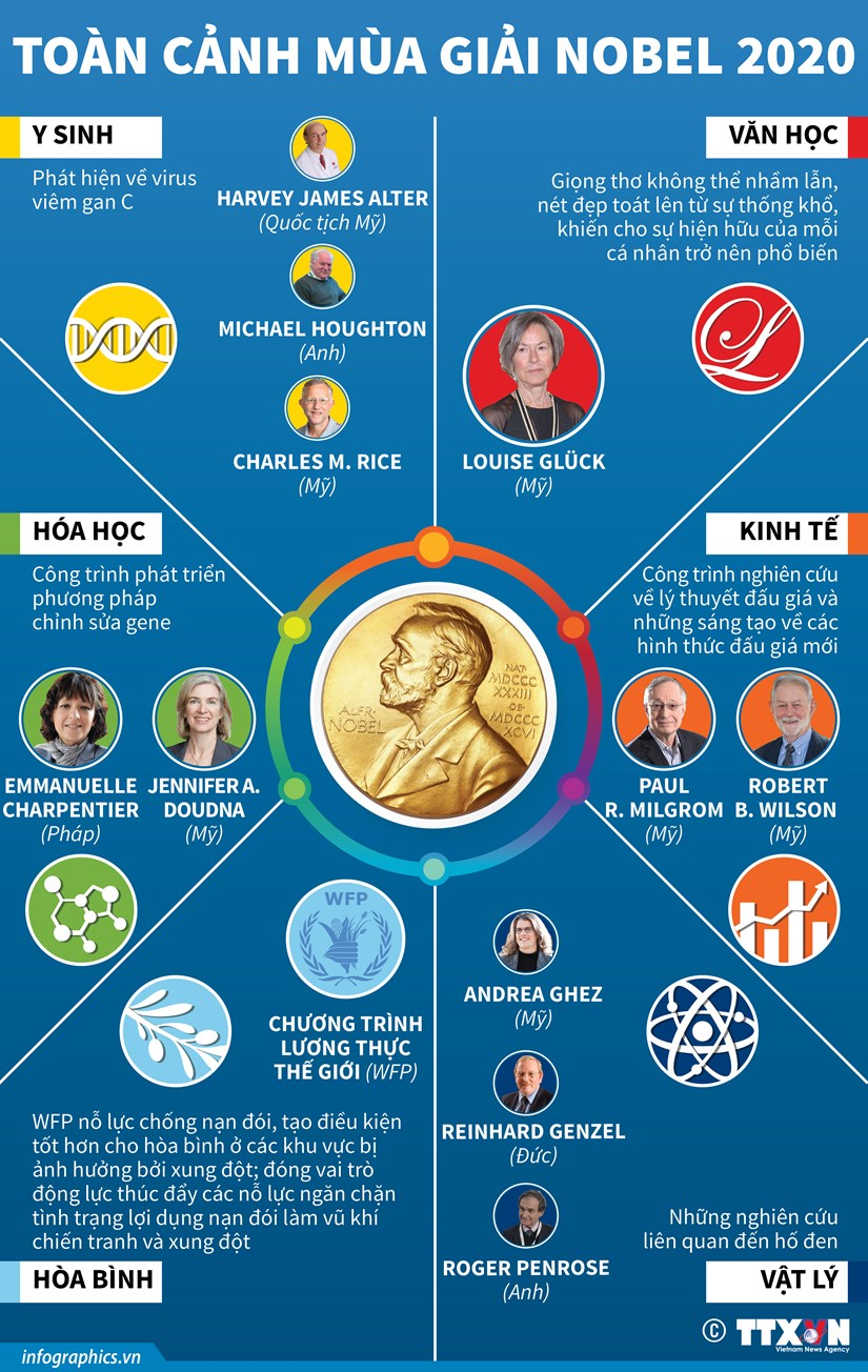 [Infographics] Theo doi toan canh mua giai Nobel nam 2020 hinh anh 1