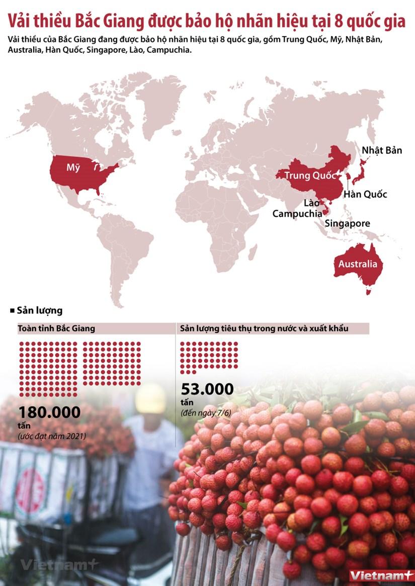 [Infographics] Danh sach cac nuoc bao ho nhan hieu vai thieu Bac Giang hinh anh 1