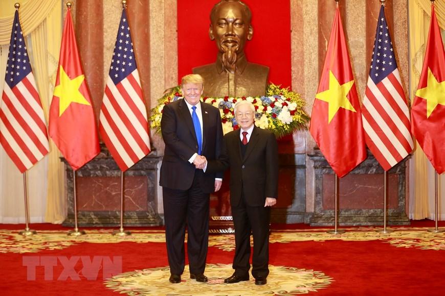 Tổng Bí thư, Chủ tịch nước Nguyễn Phú Trọng tiếp Tổng thống Hoa Kỳ Donald Trump. Ảnh: Trí Dũng/TTXVN